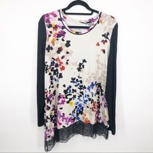 LOGO Floral Lace Asymmetrical Tunic